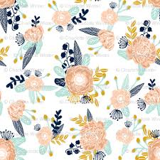 Gold Flowers Florals Peach Navy Blue Mint Gold Flowers Painted Floral Painted
