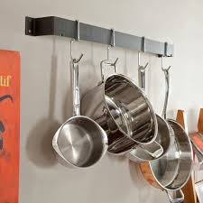 Copper Accessories For Kitchen Decor Bookshelf And Wall Mount Pot Rack For Cool Kitchen