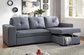 Convertible Sectional Sofa Bed Poundex F6910 Blue Grey Polyfiber Convertible Sectional Sofa Bed