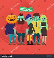 fashion halloween background pictures fashion zombies crowd hipster girls boys stock vector 226969456