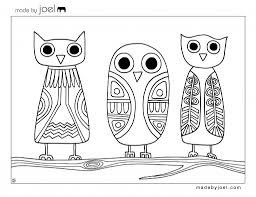 printable owl art made by joel owls coloring sheet