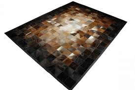 Leather Area Rug Gradient Beige Brown And Black Leather Area Rug Squares 9x12ft