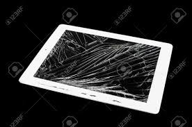 tablet computer with broken glass screen isolated on