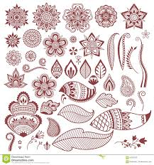 mehndi henna tattoo flowers and leaves stock vector image 60023933
