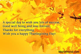a special day to wish you thanksgiving card message