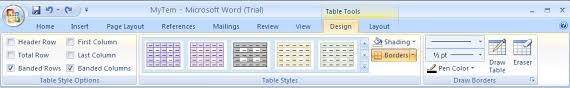 table tools design tab apply a fill to a table table format table microsoft office