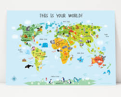 Printable World Map World Map For Kids Instant Download Nursery Decor High