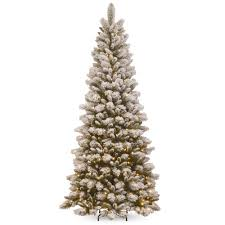 national tree company 7 5 ft snowy westwood slim pine tree with