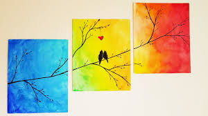 Paint Room Diy Colorful Tree Canvas Painting Room Decor Youtube