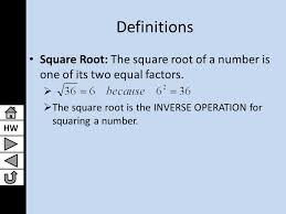 hw lesson 9 1 solving quadratic equations by finding square roots algebra i 3 hw definitions