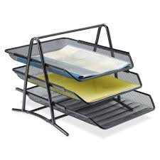 Desk Organization Accessories by Lorell Steel Mesh 3 Tier Mesh Desk Tray Walmart Com