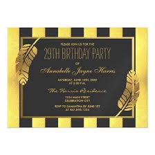 gold feather and black stripes 29th birthday party magnetic