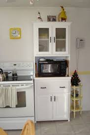 Furniture For Kitchen Storage Small Tall Free Standing Hutch Furniture In White Color Useful