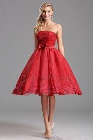 strapless tea length red cocktail dress party dress x04135102