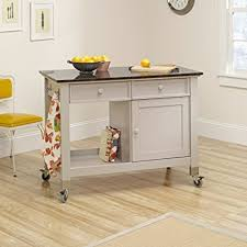kitchen mobile islands sauder 414405 mobile kitchen island cobblestone finish