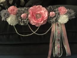 baby shower sash pink gray white maternity sash for a baby shower with pearls