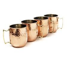 amazon com moscow mule hammered copper 18 ounce drinking mug set