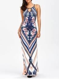 maxi dresses blue s keyhole neck floral chevron maxi dress rosegal