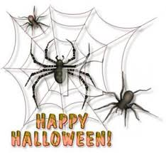 clipart picture of a web full of spiders and happy halloween