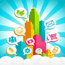Colorful City Colorful City With Speech Bubbles Social Media Icons U2014 Stock