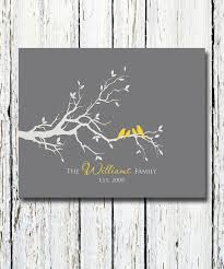 personalized custom bird family tree branch family names and