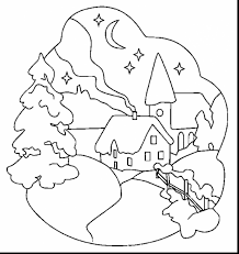 spectacular winter scenes coloring pages printable with snow