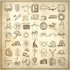 49 hand drawing doodle icon set on grunge paper background travel