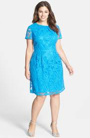 fashion trends high neck short sleeves knee length blue lace plus
