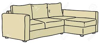 hand drawing of a cream big couch royalty free cliparts vectors