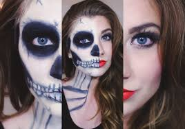 halloween half skull makeup tutorial face powder pinterest