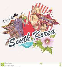 south korea travel poster with flower pagodas tradition clothes