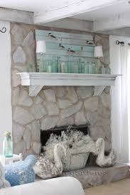 erin s art and gardens chalk painted stone fireplace antiqued mantel