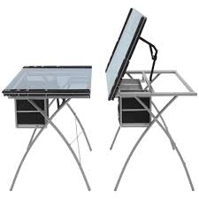Drafting Table Glass Adjustable Drafting Table W Glass Top And Drawers Silver Black