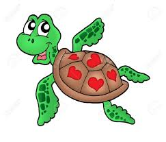 little sea turtle with hearts color illustration stock photo