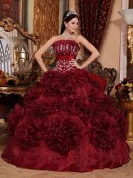 burgundy quince dresses burgundy strapless curled ruffles appliques quinceanera dress