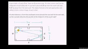 geometry word problem a perfect pool shot video khan academy