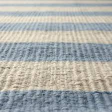 Ocean Themed Rug Hand Crafted Striped Rug Light Blue And Off White Flat Woven