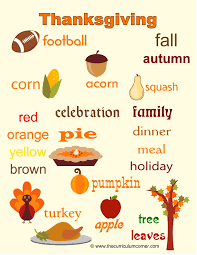 thanksgiving word wall for writers thanksgiving words