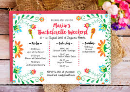 fiesta bachelorette party itinerary invitation mexican