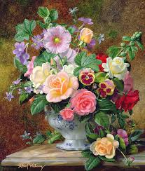 Vases Of Roses Roses Pansies And Other Flowers In A Vase Painting By Albert Williams
