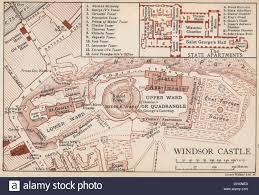 Windsor Castle Floor Plan by Windsor Castle Vintage Map Plan Berkshire 1935 Stock Photo