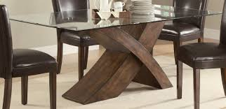 Wooden Base For Glass Dining Table Wood And Glass Dining Table