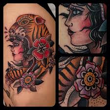 colorful traditional tattoo by matt houston design of