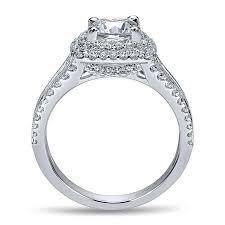 engagement ring setting 14k white gold diamond milgrain and channel setting halo