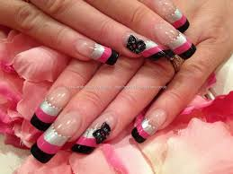 silver pink and black striped nail art with 3d acrylic flowers