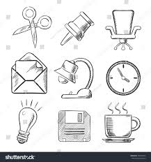office sketched icons thumb tack scissors stock vector 350978654