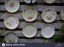 porcelain plates for sale at flea market wicker basket crockery