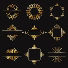 nine gold ornaments on a black background vector free