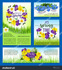 hello spring greeting posters set vector stock vector 611534828