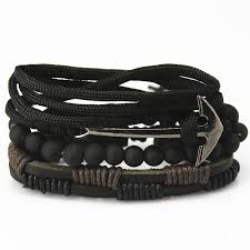 leather bracelet fashion images Buy new fashion accessories anchor bead leather bracelets jpg